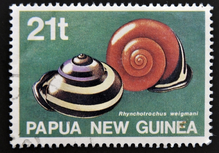PAPUA NEW GUINEA - CIRCA 1991: A stamp printed in Papua New Guinea shows Snails autochthonous ( rhynchotrochus weigmani), circa 1991 Stock Photo - 15670233
