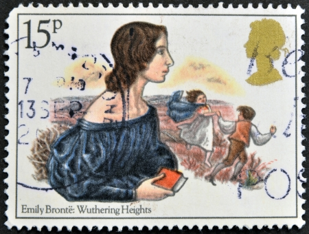 jane: UNITED KINGDOM - CIRCA 1980: A stamp printed in Great Britain showing a drawing the writer Emily Bronte: Whuthering Heights, circa 1980. Editorial