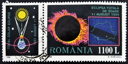ROMANIA - CIRCA 1998: A stamp printed in Romania shows Total Eclipse of the Sun, circa 1998  Stock Photo - 15670254