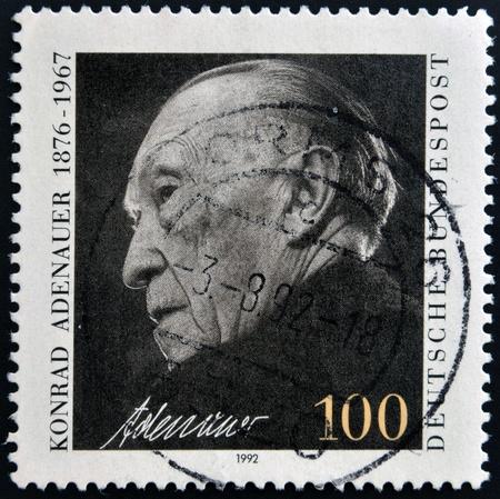 GERMANY - CIRCA 1992  A stamp printed in Germany, shows Chancellor Konrad Adenauer, circa 1992  Stock Photo - 15745155