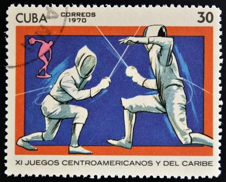 CUBA - CIRCA 1970  A stamp printed in Cuba shows fencing, circa 1970