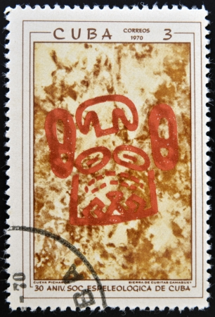 ethnographic: CUBA - CIRCA 1970  A stamp printed in Cuba shows the image of a rock-painting, series, circa 1970