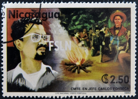 carlos: NICARAGUA - CIRCA 1980: A stamp printed in Nicaragua shows Carlos Fonseca, founder of the Sandinista National Liberation Front, circa 1980 Editorial