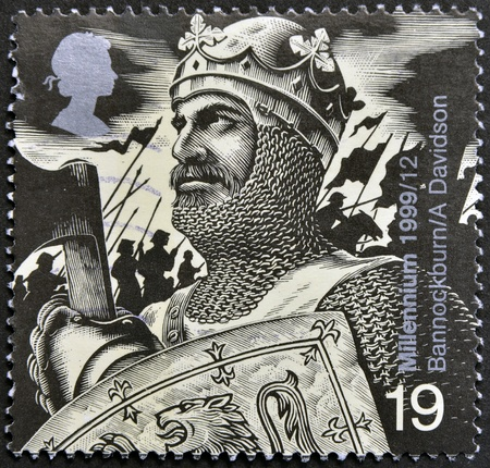 robert bruce: UNITED KINGDOM - CIRCA 1992: A stamp printed in Great Britain shows Robert the Bruce (Battle of Bannockburn, 1314), circa 1992 Editorial