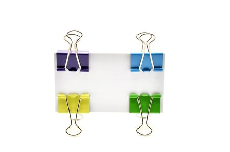 retaining: card with retaining clips colors