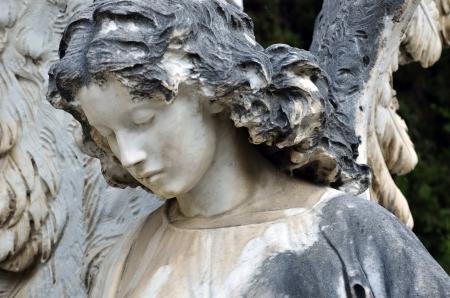 墓地で天使の像