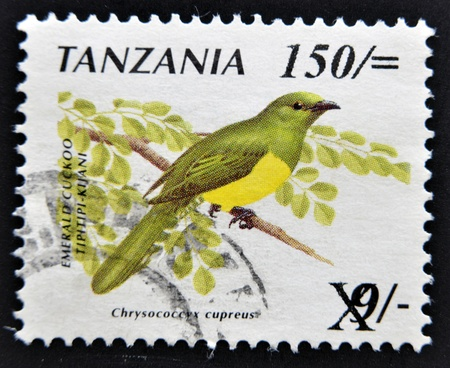 TANZANIA - CIRCA 1990  A stamp printed in Tanzania shows the emerald cuckoo bird  Chrysococcyx cupreus , circa 1990