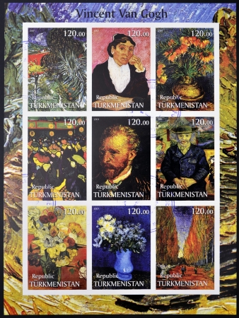 TURKMENISTAN - CIRCA 2001  stamps printed in turkmenistan, shows set of stamps with pictures of Vincent Van Gogh, circa 2001