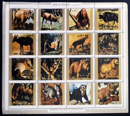 umm: UMM AL QIWAIN - CIRCA 1973  Collection stamps printed in Umm al Qiwain shows animals dying out, circa 1973