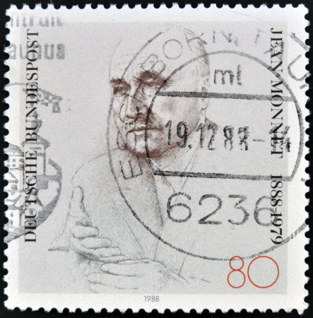 political economist: GERMANY - CIRCA 1988: A stamp printed in Germany, shows Jean Monnet, circa 1988  Editorial