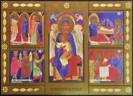 ARGENTINA - CIRCA 2005: A christmas stamp shows different Nativity Scenes, circa 2005