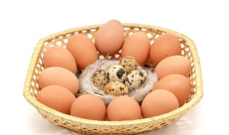 basket with different eggs photo