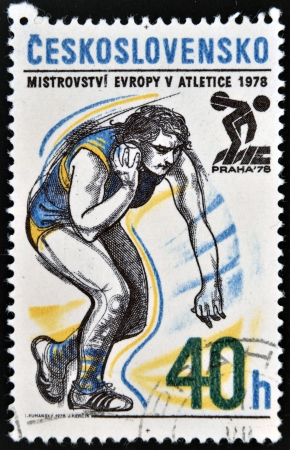 CZECHOSLOVAKIA - CIRCA 1978: A stamp printed in Czechoslovakia dedicated 5th European Athletic Championships, Prague, shows Shot put, circa 1978