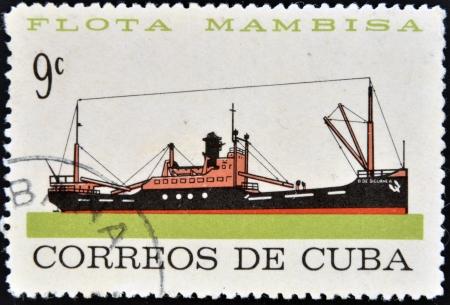 CUBA - CIRCA 1962: A stamp printed in Cuba dedicated to Mambisa fleet, shows Siguanea ship, circa 1962 Stock Photo - 16020435