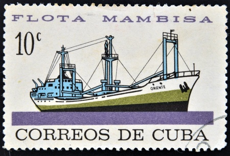 CUBA - CIRCA 1962: A stamp printed in Cuba dedicated to Mambisa fleet, shows Eastern ship, circa 1962 Stock Photo - 16020436