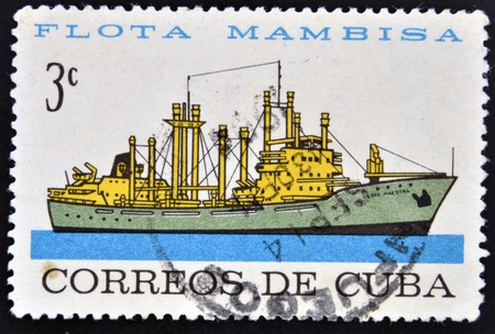 CUBA - CIRCA 1962: A stamp printed in Cuba dedicated to Mambisa fleet, shows Sierra Maestra ship, circa 1962 Stock Photo - 16020444
