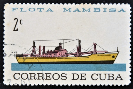 CUBA - CIRCA 1962: A stamp printed in Cuba dedicated to Mambisa fleet, shows Camilo Cienfuegos ship, circa 1962 Stock Photo - 16030689