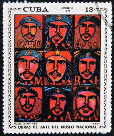 martinez: CUBA - CIRCA 1971: A stamp printed in cuba dedicated to works of art from the National Museum, shows Phoenix by Raul Martinez, circa 1971