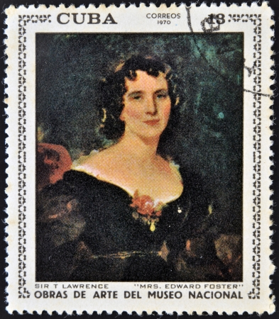 edward: CUBA - CIRCA 1970: A stamp printed in cuba dedicated to works of art from the National Museum, shows Mrs Edward Foster by Sir T Lawrence, circa 1970 Editorial