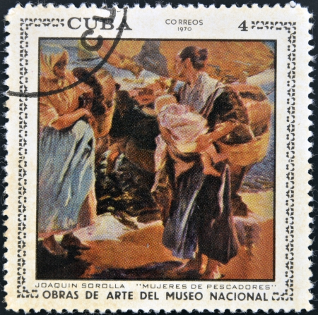 sorolla: CUBA - CIRCA 1970: A stamp printed in cuba dedicated to works of art from the National Museum, shows fishermens wives by Joaquin Sorolla, circa 1970 Editorial