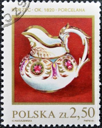 POLAND - CIRCA 1981   stamp printed in Poland shows 1820 porcelain milk jug, circa 1981