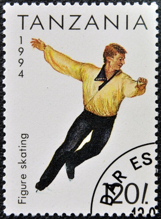 TANZANIA - CIRCA 1994: A stamp printed in Tanzania shows figure skating, circa 1994  Stock Photo - 16020451