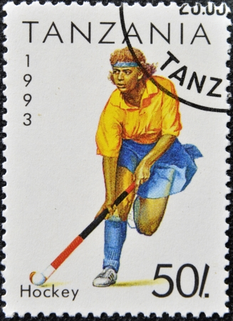 TANZANIA - CIRCA 1993: A stamp printed in Tanzania shows hockey, circa 1993