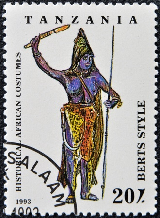 TANZANIA - CIRCA 1993: A stamp printed in Tanzania dedicated to historical african costumes, shows berts style, circa 1993