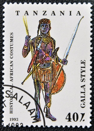 TANZANIA - CIRCA 1993: A stamp printed in Tanzania dedicated to historical african costumes, shows galla style, circa 1993
