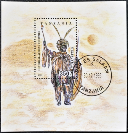 TANZANIA - CIRCA 1993: A stamp printed in Tanzania dedicated to historical african costumes, shows zulu style, circa 1993