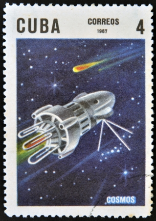 CUBA - CIRCA 1967: A stamp printed in Cuba shows space satellite Cosmos, circa 1967 photo