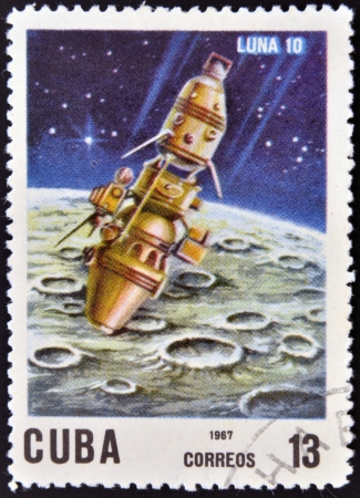 CUBA - CIRCA 1967: A stamp printed in Cuba shows Luna 10 spacecraft, circa 1967.
