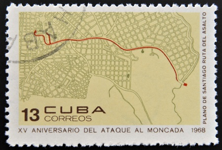 CUBA - CIRCA 1968: Stamp printed in Cuba dedicated to anniversary of the attack on the Moncada Barracks, shows Santiago plane, assault routel, circa 1968  photo