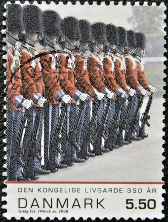 DENMARK - CIRCA 2008: A stamp printed in Denmark shows the royal guard, circa 2008
