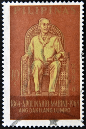 PHILIPPINES - CIRCA 1964: A stamp printed in Philippines shows Apolinario Mabini, circa 1964 Stock Photo - 16127741