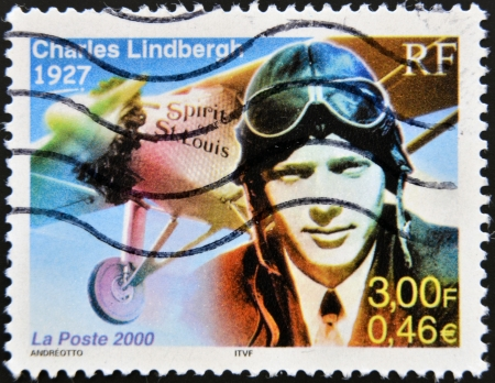 FRANCE - CIRCA 2000: A stamp printed in France show Charles Lindbergh, Spirit of St. Louis, circa 2000.