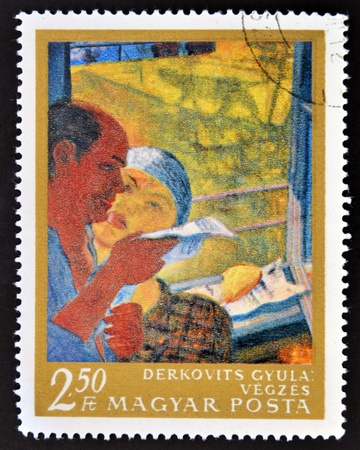 eviction: HUNGARY - CIRCA 1967  stamp printed in Hungary shows Eviction Notice by Gyula Derkovits, circa 1967  Editorial