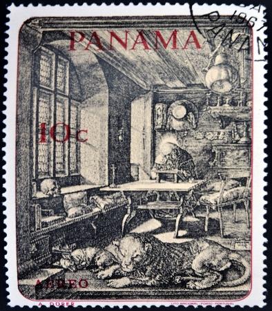 durer: PANAMA - CIRCA 1967 Un timbro stampato in Panama mostra San Girolamo nel suo studio di Durer, circa 1967 Editoriali