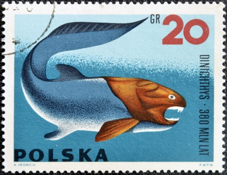 ichthyology: POLAND - CIRCA 1966  A stamp printed in Poland shows Dinichthys from the series  Dinosaurs, Prehistoric Vertebrates, circa 1966