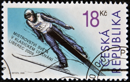 CZECH REPUBLIC - CIRCA 2009: A stamp printed in Czech Republic shows Ski Jumping, circa 2009 Stock Photo - 16136788