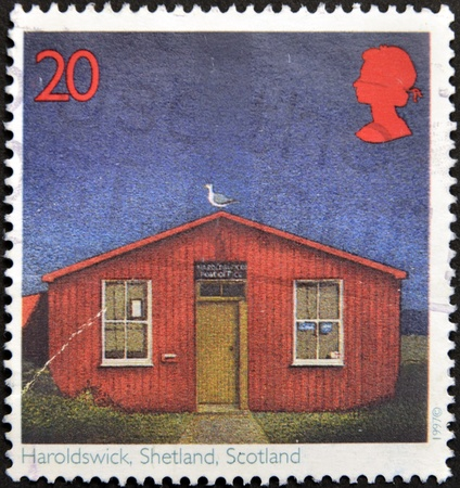 UNITED KINGDOM - CIRCA 1997: A stamp printed in Great Britain shows Post Offices, Haroldswick, Shetland Islands, Scotland, circa 1997  Stock Photo - 16127718