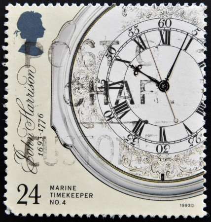 UNITED KINGDOM - CIRCA 1993: a stamp printed in the Great Britain shows Marine Chronometer by John Harrison, inventor, circa 1993  Stock Photo - 16127714
