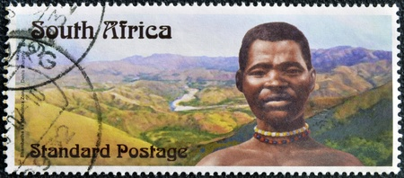 rebellion: SOUTH AFRICA - CIRCA 2006: A stamp printed in RSA dedicated to Centennial Bhambatha Rebellion, circa 2006