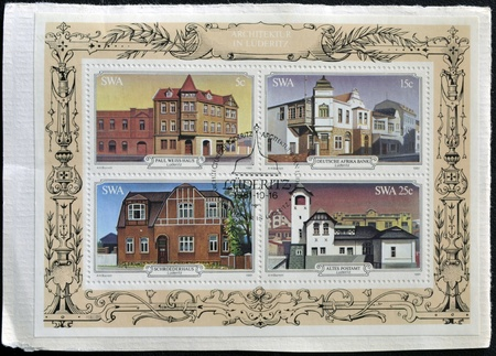 SOUTH AFRICA - CIRCA 1981: Stamps printed in South Africa shows Luderitz historic buildings, circa 1981