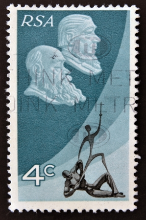 REPUBLIC OF SOUTH AFRICA - CIRCA 1982: A stamp printed in RSA shows pictures of Paulus Joubert, Paul Kruger, Memorial Peace of Vereeniging, circa 1982 Stock Photo - 16136016