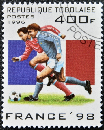 TOGO - CIRCA 1996: A stamp printed in Togo dedicated to Soccer World Championship of France 1998, circa 1996 Stock Photo - 16127733
