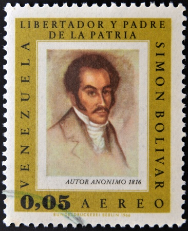 VENEZUELA - CIRCA 1980: A stamp printed in Venezuela shows image of the Simon Bolivar, circa 1980