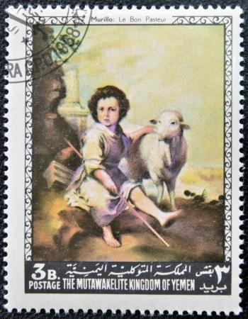 good shepherd: YEMEN - CIRCA 1968: A stamp printed in Yemen shows The Good Shepherd by Murillo, circa 1968