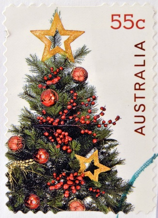AUSTRALIA - CIRCA 2011: A stamp printed in australia shows christmas tree, circa 2011 photo
