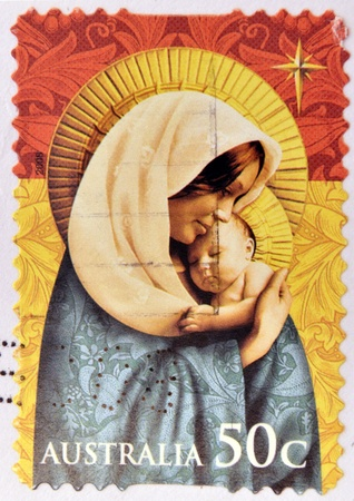 cancelled stamp: AUSTRALIA - CIRCA 2008: A Christmas stamp printed in Australia shows Madonna with child, circa 2008  Stock Photo